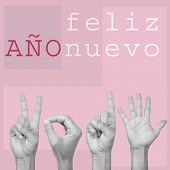 the text feliz ano nuevo, happy new year in spanish, and man hands forming the number 2015, on a pink background, in a pop art style