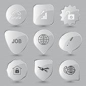 Business set. Vector glass buttons.