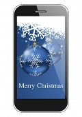 merry christmas illustration with smartphone