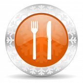 eat orange icon, christmas button, restaurant sign