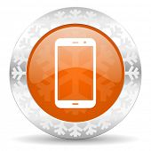 smartphone orange icon, christmas button, phone sign