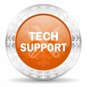 technical support orange icon, christmas button