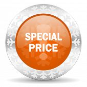 special price orange icon, christmas button