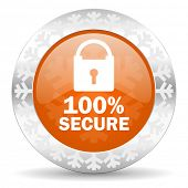 secure orange icon, christmas button