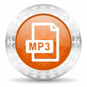 mp3 file orange icon, christmas button
