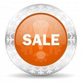 sale orange icon, christmas button