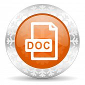 doc file orange icon, christmas button