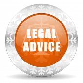 legal advice orange icon, christmas button, law sign