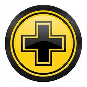 pharmacy icon, yellow logo,