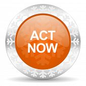 act now orange icon, christmas button