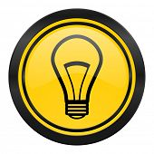 bulb icon, yellow logo, light bulb sign