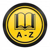 dictionary icon, yellow logo,