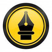 pen icon, yellow logo,