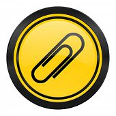 paperclip icon, yellow logo,