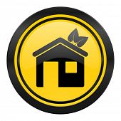 house icon, yellow logo, ecological home symbol