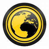 earth icon, yellow logo, world sign