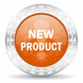 new product orange icon, christmas button