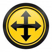 arrow icon, yellow logo,