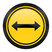 arrow icon, yellow logo,
