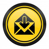 email icon, yellow logo, post message sign