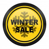 winter sale icon, yellow logo,