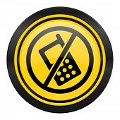 no phone icon, yellow logo, no calls sign