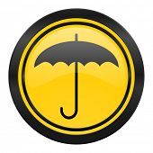 umbrella icon, yellow logo, protection sign