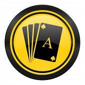 casino icon, yellow logo, hazard sign