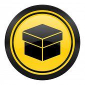 box icon, yellow logo,