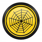 spider web icon, yellow logo,