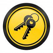 keys icon, yellow logo,