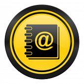 address book icon, yellow logo,