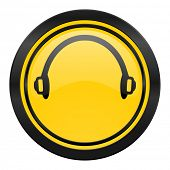 headphones icon, yellow logo,