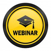 webinar icon, yellow logo,