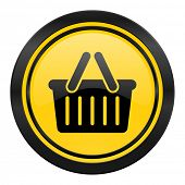 cart icon, yellow logo, shopping cart symbol