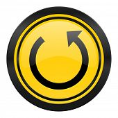 rotate icon, yellow logo, reload sign