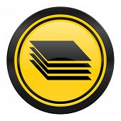 layers icon, yellow logo, gages sign