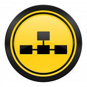 database icon, yellow logo,