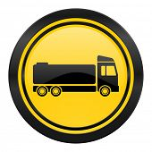 truck icon, yellow logo, cargo sign
