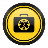 rescue kit icon, yellow logo, emergency sign