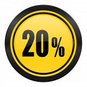 20 percent icon, yellow logo, sale sign