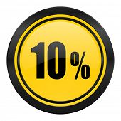 10 percent icon, yellow logo, sale sign