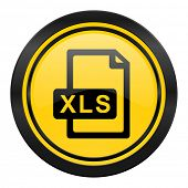 xls file icon, yellow logo,