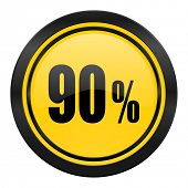 90 percent icon, yellow logo, sale sign