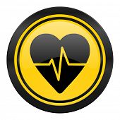 pulse icon, yellow logo, heart rate sign