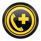 emergency call icon, yellow logo,