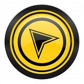 navigation icon, yellow logo,
