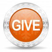 give orange icon, christmas button