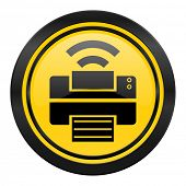 printer icon, yellow logo, wireless print sign