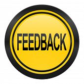 feedback icon, yellow logo,